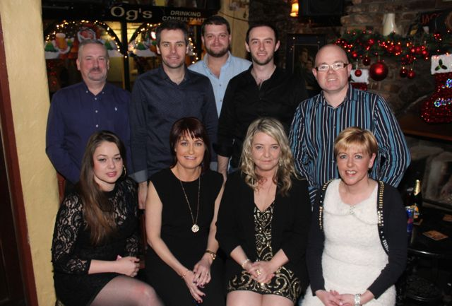 In front; Yanna Sokolova, Mary Shine, Kerrie O'Mahony Aislinn Ni Mhanach. At back; Aidan O'Meara, Damien Cashell, Mark O'Flaherty, John Cashell and Sean O'Mahony of Radleys on a Christmas night out in Sean Óg's on Saturday night. Photo by Dermot Crean