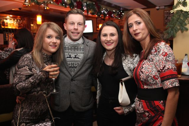 Marese Coto, Peter Butler, Aoife Brosnan and Arta Beqaj from Shaws at Kirby's Brogue Inn on Saturday night. Photo by Dermot Crean