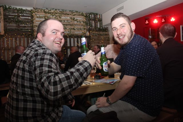 Stephen O'Sullivan and Alan Conway from Specsavers at Il Forno, Courthouse Lane, on Saturday night. Photo by Dermot Crean