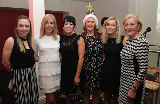 Tara Walsh, Niamh Brosnan, Maeve Goodall, Kitsy Fitzgerald, Kate and Marelda Brosnan from Total Cleaning Supplies at Il Forno, Courthouse Lane, on Saturday night. Photo by Dermot Crean