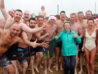 Hard as a Rockie! Some of the Stacks crew at the Christmas Swim in Fenit on Sunday. Photo by Dermot Crean