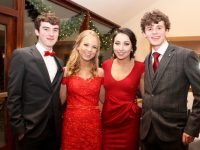 Stephen O'Brien, Ellen O'Mahony, Eva O'Connell and Jack Walsh at the Meán Scoil Nua an Leith Triúigh Castlegregory students Debs Ball at Ballyroe Heights Hotel on Wednesday. Photo by Dermot Crean