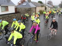 Participants at the start of the Jimmy Duffy Memorial Cycle on Saturday morning. Photo by Dermot Crean