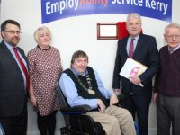 Minister Finian McGrath (second right) with, from left; Kieran Diamond of Dept of Social Protection; Miriam Ryan, Manager Employability Service Kerry, Mayor of Tralee, Cllr Terry O'Brien and Denis O'Shea, Chairperson Employability Service Kerry, at the official opening of the Rock Street offices on Wednesday. Photo by Dermot Crean
