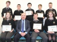 Award-winning students from Gaelcholáiste Chiarraí with Principal Austin Ó Seachnasaigh at the Kerry ETB awards on Friday night at IT Tralee. Photo by Dermot Crean