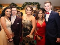 Emma Lonergan, Richard Horgan, Shannon McInerney, Leanne Moriarty and Mark Donovan  at the Mercy Mounthawk students Debs Ball at Ballyroe Heights Hotel on Thursday night. Photo by Dermot Crean