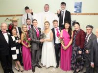 The Wedding Party at the Na Gaeil GAA Club 'One Wedding And A Funeral' event at their clubhouse on Saturday night. Photo by Dermot Crean