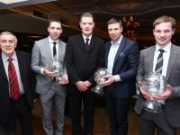 Presentations were made to the O'Se brothers at the Kerry GAA Supporters Club social at Ballygarry House Hotel on Saturday night. Left Donal O'Leary, President KSC, Mark O'Se, Tim Murphy Chairman KCC, Tómas O'Se, and Padraig O'Se, accepting the trophy on behalf of his uncle Darragh O'Se. Photo: John Cleary.