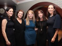 Marie Scott, Dara Quirke, Deirdre Maguire, Niamh O'Donnell and Maura O'Donnell enjoying Women's Christmas at Benners Hotel on Friday night. Photo by Dermot Crean
