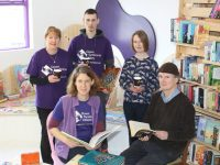 Liz Furlong, Christy Murphy, Mary Ellen Costello, Rachel Fitzgerald and John Sugrue prepare for the opening of  the new bookshop and coffee dock, 'Full Stop'. Photo by Lisa O'Mahony.