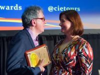 Irish Independent columnist, Billy Keane, receiving a CIE Tours International Merit Visit Award for John B. Keane's Pub, Kerry from Elizabeth Crabill, Chief Executive Officer, CIE Tours International, at CIE Tours International's 27th Annual Awards of Excellence, Dublin City Hall, 20th February, 2017