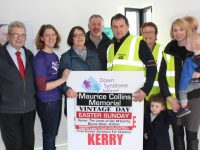 Ted Moynihan, Rachel Fitzgerald, Peggy Fitzmaurice, Dan Galvin, Anthony Lynch, Kathleen McCarthy, Sharon Leane, Aoibín Leane and Oisín Leane promoting the Maurice Collins Memorial Vintage Day. Photo by Lisa O'Mahony.