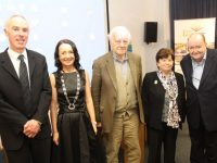 At the talk hosted by the Kerry Archaeological and Historical Society at Tralee Library on Tuesday night were County Librarian Tommy O'Connor, Marie O'Sullivan, Richard Hilliard, Kathleen Browne and Gerard Lyne. Photo by Dermot Crean