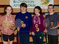 Ruadhan O'Donovan Winner of Un 11 boys singles along with Gearoid O'Sullivan runner up.  The second photograph shows, L/R: Ciara Hudson, Cillian Falvey winners of Un 17 singles, Maria Kenelly and Niall O'Brien runners up.