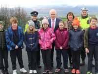 Darragh O'Shea, Jack Gibbon, Emily Bolagh, Kelly Gainer, Shauna Harris, Emma Dunican and Oisín O'Sullivan with Sergent Eileen O'Sullivan, Jimmy Deenihan, Annette Dineen and Seamus Moriarty at the Launch of 'Walk a Marathon in a Month' on Monday. Photo by Lisa O'Mahony.