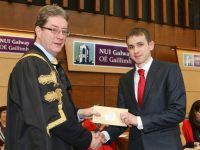 Pictured receiving the Blarney Exhibition in Science for Physical, Chemical and Mathematical Sciences from NUI Galway is Donnchadh Mac Garry from Fenit
