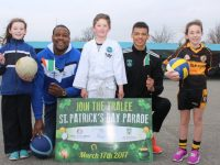 Rick and Ryan Leonard with Ciara Drummey, Jayden Breen and Amy Scanlon at CBS Primary School, Tralee. Photo by Lisa O'Mahony