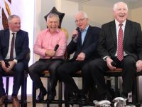 Mikey Sheehy and Ger Power with Robbie Kelleher and Paddy Cullen share a laugh onstage at the Austin Stacks GAA Corporate Lunch at Ballygarry House Hotel on Friday. Photo by Dermot Crean