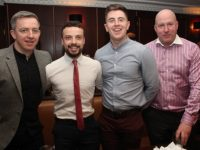 Jonathan Conway, Dale Counihan, David Mannix and Seamus 'Mogs' O'Mahony at the Austin Stacks GAA Corporate Lunch at Ballygarry House Hotel on Friday. Photo by Dermot Crean