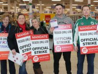 Marian Devine, Denise Vickers, Mary Cronin, Dean Bastible and Thomas Canty  manning the picket line at Tesco Manor West on Wednesday. Photo by Lisa O'Mahony.