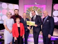Denis Cronin from Castlegregory Co. Kerry has won €37,000 including a car on last Saturdays (4th March 2017) National Lottery Winning Streak game show on RTE.  Pictured here at the presentation of the winning cheques were from left to right: Sinead Kennedy, Winning Streak game show co-host; Andrew Egan, National Lottery ticket selling agent, Post Office, Castlegregory, Tralee, Co. Kerry; Mrs Noreen Cronin, (Dennis's wife) Denis Cronin the winning player; Niall Andrews, Head of Sales, the National Lottery and Marty Whelan, Winning Streak game show co-host: Pic: Mac Innes Photography.