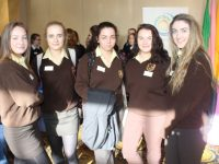 Students of Presentation Secondary School, Listowel, Cara O'Brien, Sadhbh Carmody, Selena McCool, Eimear Quin, and Kaylene Chute at Ceiliúradh na nÓg at the Brandon Hotel on Wednesday. Photo by Lisa O'Mahony.