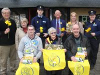 Pat Hussey, Rita O'Sullivan, Evan McNamara, Sam Locke, Catherine Horan, Cathy Murphy, Paul Horan, Chris Griffin and Ed O'Connor at the Launch of Daffodil Day at the Brogue Inn on Monday. Photo by Lisa O'Mahony.