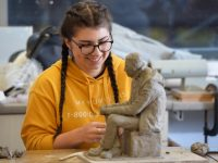 Tabita Kolesarova, a student of the QQI Level 5 Art, Craft and Design Course at KCFE, Tralee, getting ready for Thursday's exhibition.