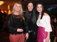 Edwina O'Driscoll, Kara Kerins and Trish Corcoran at the Kerins O'Rahillys GAA Strictly Come Dancing event at the Brandon Hotel on Saturday night. Photo by Dermot Crean