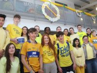 Mercy Mounthawk students wearing yellow to mark Daffodil Day at the school on Friday. Photo by Dermot Crean