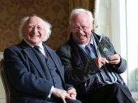 NO FEE FOR 1st REPRO Pic credit Julien Behal/No Fee 29/03/2017 Picture shows Poet Professor Brendan Kennelly with President Michael D Higgins at a reception in the Shelbourne Hotel on St. Stephen's Green,Dublin  where he received  the inaugural Kerry Association in Dublin Arts Award.The award was presented to Professor Brendan Kennelly by President of Ireland Michael D. Higgins.  President Higgins presented the bespoke piece of Dingle Crystal to Brendan and in his address, President Higgins paid tribute to his close personal friend and fellow poet. The President spoke of Brendan's 'immense' influence on Irish arts and society.   The Kerry Association in Dublin was established in 1951 and aims to develop the great sporting, literary and cultural heritage of Kerry. 2017 is the inaugural year of the Association's Arts Award which was sponsored by Kerry Group plc and it is intended to be an annual reward, to recognise a Kerry individual's excellence in the Arts. Professor Kennelly was chosen by the selection committee to be the first recipient of the award for his outstanding achievements in Literature. Jimmy Deenihan, former TD and Minister for Arts, Heritage and the Gaeltacht, chaired the selection committee.  