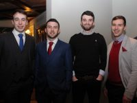 Andrew Barry, Kieran O'Donovan, Dylan Brazil and Michael Griffin at the Na Gaeil GAA Club annual social in The Meadowlands Hotel on Saturday night. Photo by Dermot Crean