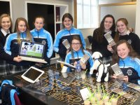 Transition Year Students of the Presentation Secondary School, Tralee, Rebecca Poultney, Caoimhe Tobin, Leanne Savage, Blathnaid Cotter, Chloe Morris, Niamh Walsh  Eimear Ellard, Niamh O'Shea, showcasing their Enterprise Projects at AIB Tralee on Wednesday. Photo by Lisa O'Mahony.