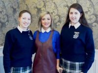 Head girls Katie Ahern and Aoife O'Sullivan with Nikki Bradley.