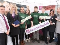 Tom O'Connor and Grace Boyle, AIB, ITT students who organised Recfest Rosie Brown, Lisa O'Mahony, Joe Monaghan and Dale Brosnan with Sarah Leahy and Mary Rose Cantillon, AIB, at Recfest on Abbey Street on Thursday. Photo by Dermot Crean