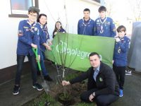 At the tree planting at the Kerry Scout Hall on Saturday morning was Karolis Streimikis of Applegreen. Standing; Gavin Mulvihill, Maura and Grainne O'Donnell, Alusin Jah, Ryan and Sean O'Donnell. Photo by Dermot Crean