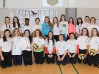 Ms Dineen and Ross McBride with the Spike Ball Leaders of Mercy Mounthawk Secondary School. Photo by Lisa O'Mahony.