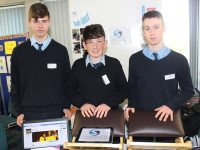 Jamie Hannon, Philip Burn and Fionáin Twomey from St Joseph's Secondary School , Ballybunion, with their project at the Student Enterprise Awards on Friday. Photo by Lisa O'Mahony.