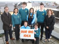 Launching the 'One Big Idea For Tralee' project at HQ Tralee on Friday were, kneeling; Niamh Walsh (Presentation) and Tiernan Brosnan (Mercy Mounthawk). Back from left; John Drummey (President of Tralee Chamber Alliance), Hannah Stack (Mercy Mounthawk), James Rusk (Mercy Mounthawk), Kelly Flannery (Presentation) and Daniel Greaney (Mercy Mounthawk) and Anne Looney (IT Tralee, Marketing and Enterprise Officer). Photo by Dermot Crean