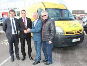 Jim Garvey of Garveys Supervalu, and Dave Randle of Randle Bros presenting Chairperson of Tralee Tidy Towns, Sam Locke and Joe Moynihan with the new vehicle for Tralee Tidy Towns. Photo by Lisa O'Mahony.