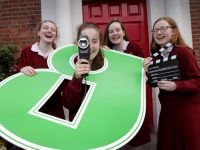 "NO REPRO FEE 29/3/2017 Minister for Education and Skills, Richard Bruton TD today launched the Guaranteed Irish video competition at Loreto College on St. Stephen's Green, Dublin. The initiative matches Transition Year students and local businesses, with the aim to produce creative videos profiling businesses at community level. Pictured at the launch were students, from left, Hana Gallagher (16) from Sandymount, Ellen McKim (15) from Blackrock, Tara O'Sullivan (15) from Glasnevin and Isabelle Healy (16) from Glasnevin. Brid O'Connell said: ""Today we are really excited to announce details of the Guaranteed Irish video competition, where we are calling on Transition Year students to make a short video about local businesses in their community. We hope that the competition gets Transition Year students involved with their locality, and most importantly that they meet with local businesses.""  PHOTO: Mark Stedman"