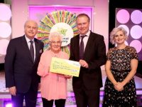 Maureen O'Sullivan from Killarney, Co. Kerry has won €28,000 including a holiday on last Saturdays (8th April 2017) National Lottery Winning Streak game show on RTE.  Pictured here at the presentation of the winning cheques were from left to right; Marty Whelan Winning Streak game show co-host; Maureen O'Sullivan the winning player; Dermot Griffin, Chief Executive at the National Lottery  and Sinead Kennedy, Winning Streak game show co-host. The winning ticket was bought from Eurospar. Pic: Mac Innes Photography.