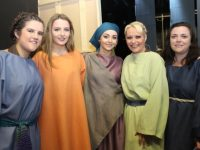 Caoimhe O'Carroll, Rebecca Murphy, Clodagh Curran, Jennifer Lynch and Emer O'Daly preparing for the performance of Tralee Musical Society's 'Jesus Christ Superstar' in Siamsa Tíre on Thursday night. Photo by Dermot Crean