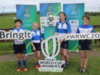 Emma Dunican, Emily Maye, Emily O'Regan and Ruth Kelliher visiting the Women's Rugby World Cup at Tralee RFC on Saturday. Photo by Lisa O'Mahony.
