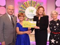 Mary McDaid from Listowel, Co. Kerry has won €21,000 on last Saturdays (6th May 2017) National Lottery Winning Streak game show on RTE.  Pictured here at the presentation of the winning cheques were from left to right: Marty Whelan, Winning Streak game show co-host; Mary McDaid, the winning recipient; Jenny Fisher, Head of Legal & Regulatory Affairs, The National Lottery and Sinead Kennedy, Winning Streak game show co-host. The winning ticket was bought from Esso Spar Service station, Bridge Road, Listowel, Co. Kerry. Pic: Mac Innes Photography.