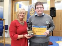 Gearóid O'Connor, winner of the Student of the Year award with Principal of CBS Anne O'Callaghan at the Leaving Certificate Students Awards. Photo by Dermot Crean