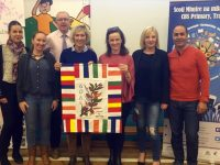 Graciela Berlanga Rodriguez, Ana Maria Del Rio Alarcon, Denis Coleman, CBS, Maria Angeles Lara Diaz-Penalvar, Máire Lynch, CBS, Liadh Ní Riada MEP, Miguel Angel Aguado Delgado at the passing of the Erasmus flag from Tomelloso in Spain to Tralee in Ireland.