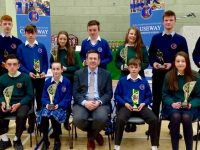 Causeway Comprehensive Principal, Cathal Fitzgerald, with award winners.