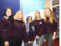 Violetta Sik, Abbie O'Sullivan, Areej Saghir, Michaela Hrachovinova and Sophie Barrett at the Coláiste Gleann Lí graduation ceremony on Friday afternoon. Photo by Dermot Crean