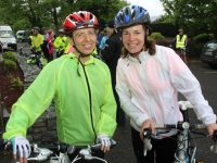 Jenny Barry and Fiona Leahy before the cycle in aid of Fenit Lifeboat on Saturday morning. Photo by Dermot Crean